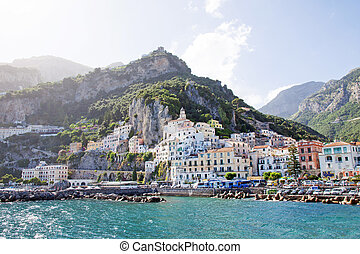 Amalfi, Italy - Panoramic view of Amalfi in the Costiera...