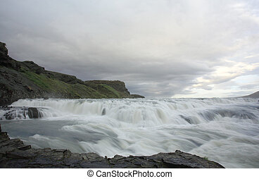 Thundering Gulfoss waterfall in Iceland