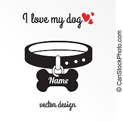 i love my dog over white background vector illustration