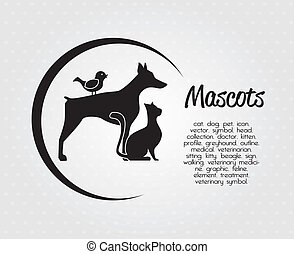 pets design over dotted background vector illustration