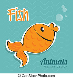 fish design over waves water background vector illustration...