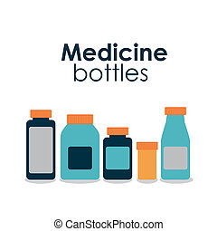 medicine bottles over hite background vector illustration