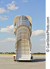 Airport - Mobile gangway for airplanes - sunny day at the...