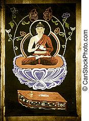 Amoghasiddhi, Buddha, Dhyani, Buddha, tibet, tela, Pintura