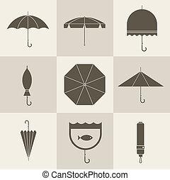 umbrella icons - Vector vintage umbrellas