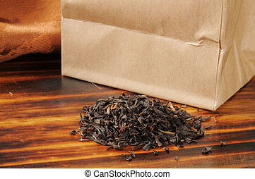 Brown bag of loose leaf black tea