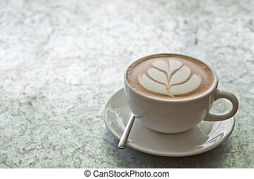 A cup of hot chocolate on the table