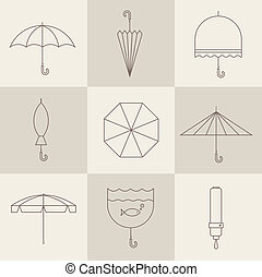 umbrella icons - Vector vintage umbrellas
