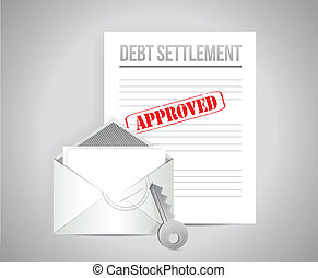 debt settlement approved concept illustration