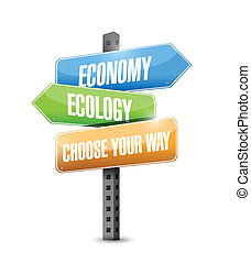 economy versus ecology. choose your way road sign...