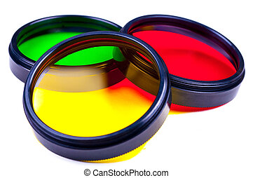 Photo filters - Set of various colors photofilters for SLR...