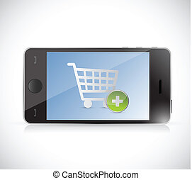 phone with a shopping cart button. online shopping