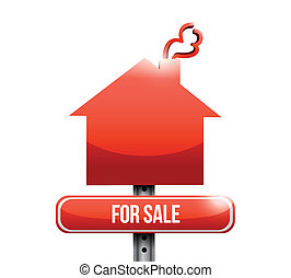for sale road sign illustration design