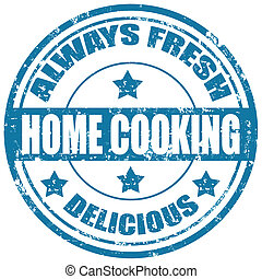 Home Cooking-stamp - Grunge rubber stamp with text Home...