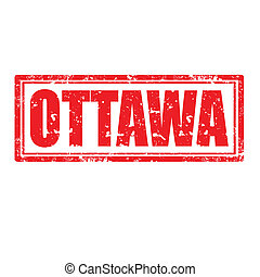 Ottawa-stamp - Grunge rubber stamp with word Ottawa,vector...