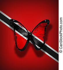 Trinidad and Tobago flag butterfly, isolated on flag...