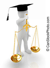 3d man - magistrate with gold scales Isolated over white