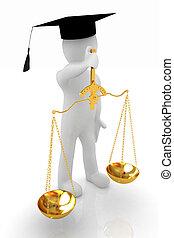 3D, homem, -, magistrado, Ouro, escalas