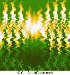 Fiery red Flames - Close-up of fire and flames on a green...