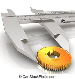 Vernier caliper measures the cogwheel on a white background