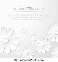 White paper flower postcard Vector illustration