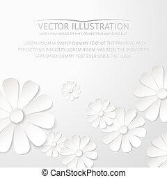 White paper flower postcard.. Vector illustration.