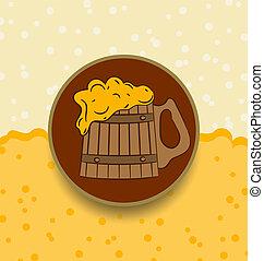 Vintage card wooden mug beer