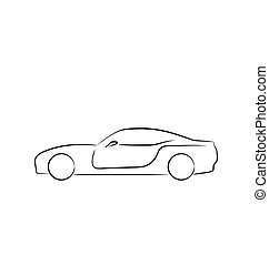 Abstact sportcar(profile) isolated on white background -...