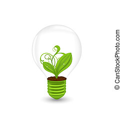 Bulb with plant inside isolated on white background -...