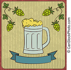 Vintage card with glass mug beer - Illustration vintage card...