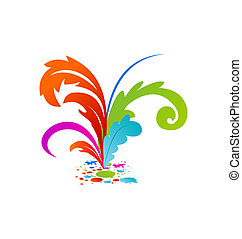 Group colouful artistic feathers with ink - Illustration...