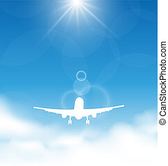Blue sky and clouds with flying airplane