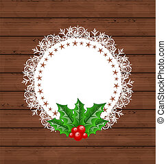 Christmas greeting card with holly berry