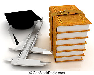 Vernier caliper, books and graduation hat. The best...
