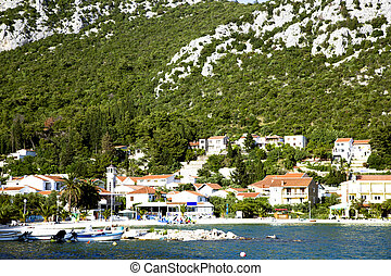 Panoramic view croatian town Klek