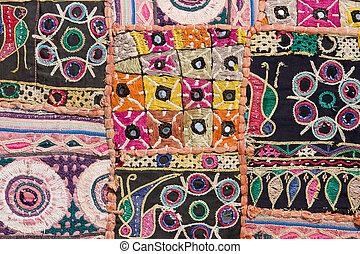indio, labor de retazos, alfombra, Rajasthan, Asia