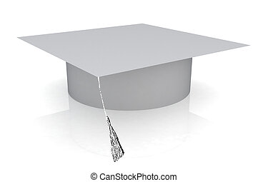 White graduation hat on a white background