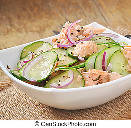 Salmon salad and cucumber with honey honey