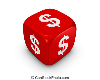 red dice with dollar sign - one red dice with dollar sign...