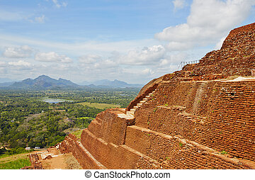 Sigiriya - Staircase on the top of Sigiriya in Sri Lanka....