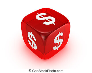 translucent red dice with dollar sign - one translucent red...