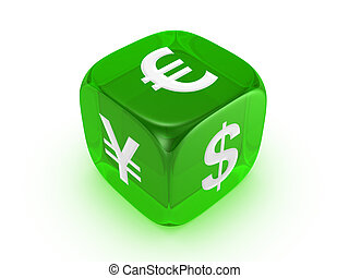 translucent green dice with currency sign
