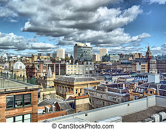 Glasgow - HDR - Aerial view of the city of Glasgow, Scotland...