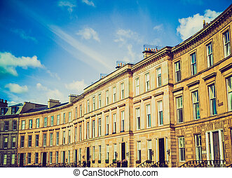 Retro looking Terraced Houses - Vintage look A row of...