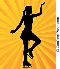 figure skater on a yellow orange background