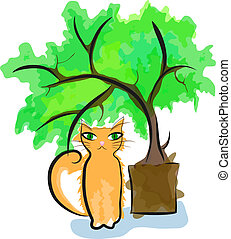 Red cat sitting near plant in pot. Eps 10