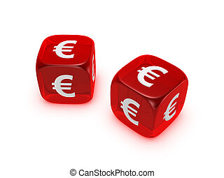 pair of translucent red dice with euro sign isolated on...