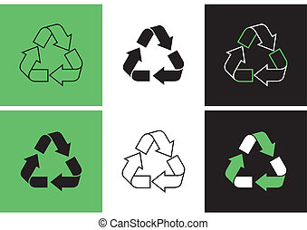 Recycle symbols - set of different variants of recycle...