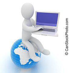 3d man sitting on earth and working at his laptop
