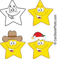 Stars Characters Collection Set - Stars Cartoon Mascot...
